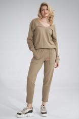 Bawełniane Spodnie z Rozciętą Nogawką - Beżowe