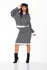 Czarno Biały Casualowy Komplet w Monogramy Sweter + Spódnica