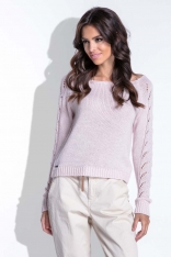 Pudrowy Sweter z Ażurowym Wzorem