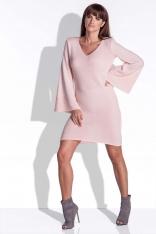 Różowa Sukienka Dzianinowa z Efektownymi Rękawami