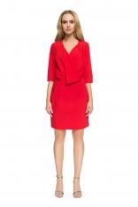 Czerwona Kopertowa Sukienka Wizytowa z Rękawami do Łokcia