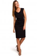 Czarna Dopasowana Sukienka bez Rękawów  z Elementami Drapowania