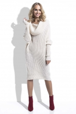 Beżowa Sukienka Swetrowa z Obfitym Golfem