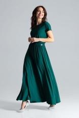 Zielona Sukienka Maxi z Podkreśloną Talią