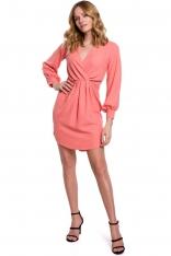 Sukienka z Długim Bufiastym Rękawem - Pomarańczowa