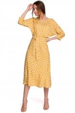 Midi Sukienka w Grochy z Nietoperzowym Rękawem - Żółta