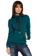Zielona Bluza z Wysokim Kołnierzem