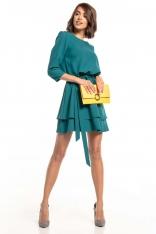 Sukienka z Rozkloszowanym Podwójnym Dołem - Szmaragdowa