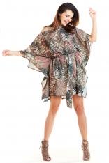 Brązowa Kimonowa Sukienka ze Zwierzęcym Wzorem