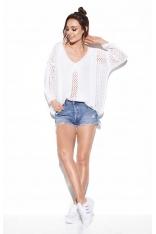 Sweter z Podwójnym Dekoltem V - Biały