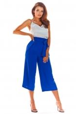 Niebieskie Stylowe Spodnie Kuloty z Wiązaniem