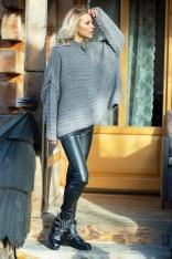 Szary Oversizowy Sweter w Prążek z Niską Stójką