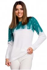 Sweter z Motywem Choinek -- Szmaragdowy