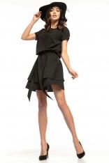 Czarna Kimonowa Wizytowa Sukienka z Falbankami