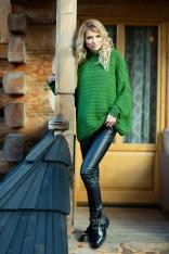 Zielony Oversizowy Sweter w Prążek z Niską Stójką