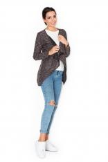 Beżowy Melanżowy Sweter-Narzutka z Wolnymi Połami