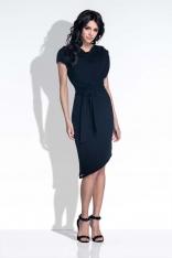Czarna Sukienka Elegancka Asymetryczna z Rozcięciem na Plecach