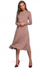 Rozkloszowana Sukienka z Rozcięciem - Cappuccino