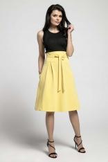 Żółta Wizytowa Rozkloszowana Spódnica z Ozdobną Kokardką