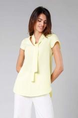 Żółta Asymetryczna Bluzka z Krawatką