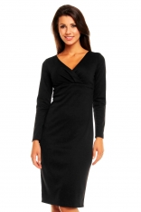 Czarna Elegancka Sukienka z Zakładanym Dekoltem z Długim Rękawem