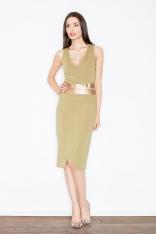 Oliwkowa Kobieca Sukienka Midi z Panelami z Eko-skóry