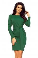 Dopasowana Sukienka z Wiązanym Paskiem - Zielona