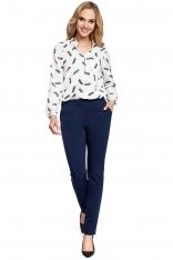 Eleganckie Granatowe Spodnie Cygaretki