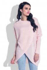 Pudrowy Sweter o Luźnym Fasonie z Kopertowym Dołem