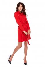 Czerwona Wizytowa Sukienka o Koszulowym Kroju z Militarnym Akcentem