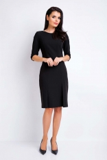 Czarna Ołówkowa Wizytowa Sukienka z Dołem w Zakładki