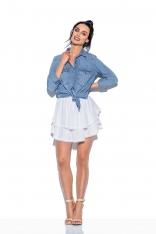 Biała Rozkloszowana Mini Spódnica z Koronką