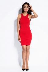 Czerwona Sukienka Mini Typu Bokserka