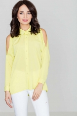 Unikatowa Żółta Koszula z Wycięciami na Ramionach