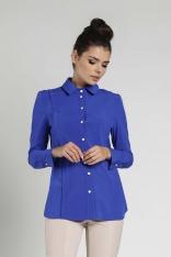 Kobaltowa Koszula z Ozdobną Plisą