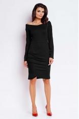 Czarna Wyjściowa Sukienka ze Zmysłowym Dekoltem
