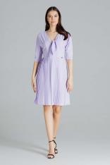 Elegancka Sukienka z Plisowanym Dołem - Fioletowa