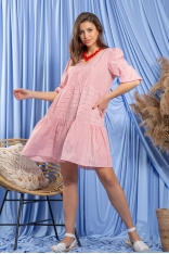 Bawełniana Luźna Sukienka w Czerwone Paski