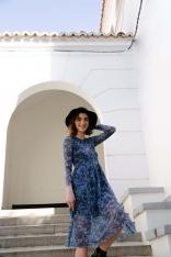 Rozkloszowana Zwiewna Sukienka w Kwiaty - Model 1