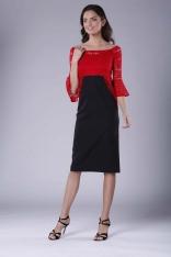Czerwono Czarna Wizytowa Dopasowana Sukienka z Koronką