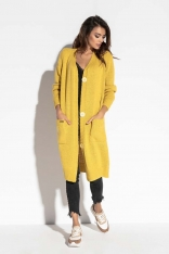 Żółty Długi Sweter Zapinany na Guziki