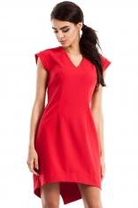 Czerwona Dopasowana Sukienka z Asymetrycznym Dołem