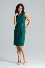 Zielona Kopertowa Sukienka z Paskiem