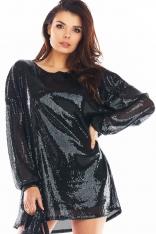 Luźna Mini Sukienka w Stylu Glamour - Czarna