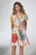Dziewczęca Sukienka Kimonowa z Kołnierzykiem - Wzór 123