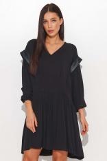 Czarna Zwiewna Sukienka Wiskozowa z Eko-skórą