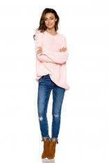 Różowy Luźny Dłuższy Sweter z Warkoczem i Łezką