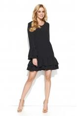 Czarna Codzienna Sukienka Wykończona Falbankami z Dekoltem V