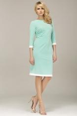 Seledynowa Klasyczna Sukienka z Lamówkami