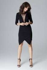 Czarna Wyjściowa Asymetryczna Sukienka z Transparentną Wstawką